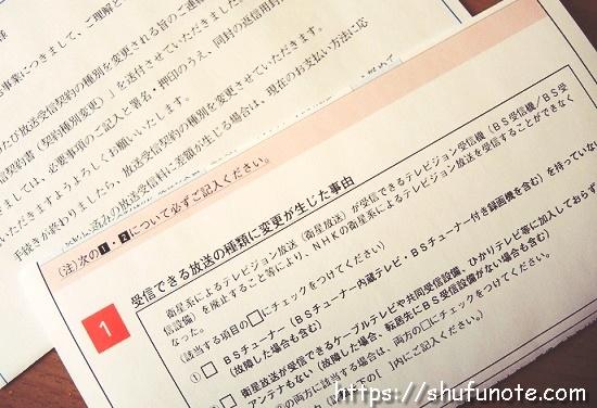 NHK衛星契約解約の書類